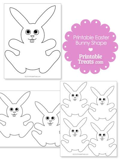 Printable Easter Bunny Shape from PrintableTreats.com