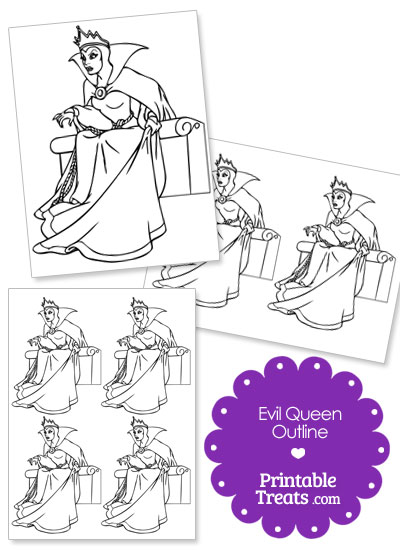 Printable Evil Queen from Snow White Outline from PrintableTreats.com