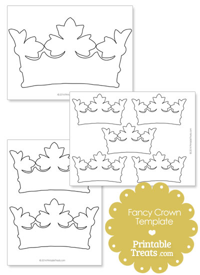 Printable Fancy Crown Template from PrintableTreats.com