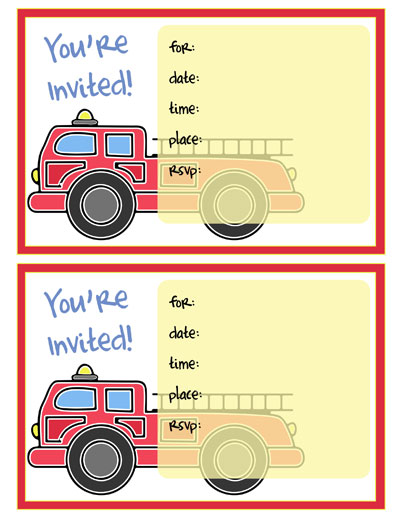 printable fire truck invitations