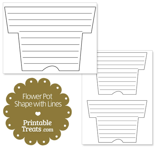 printable flower pot shape with lines