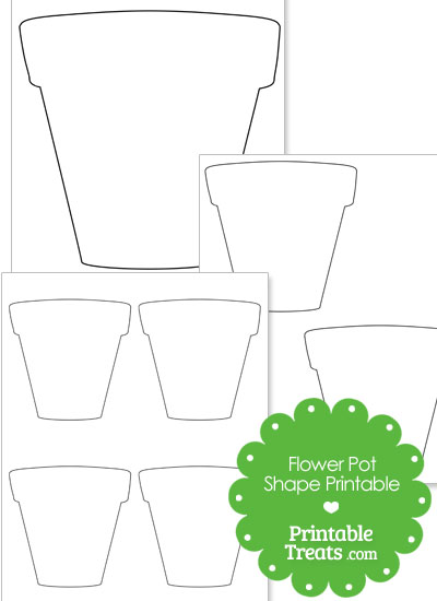 Printable Flower Pot Shape from PrintableTreats.com