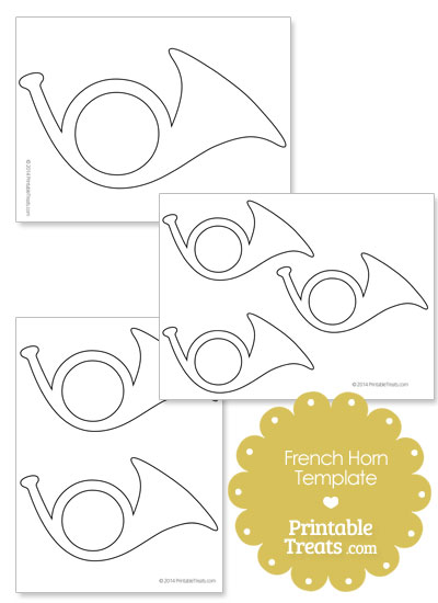 Printable French Horn Shape from PrintableTreats.com