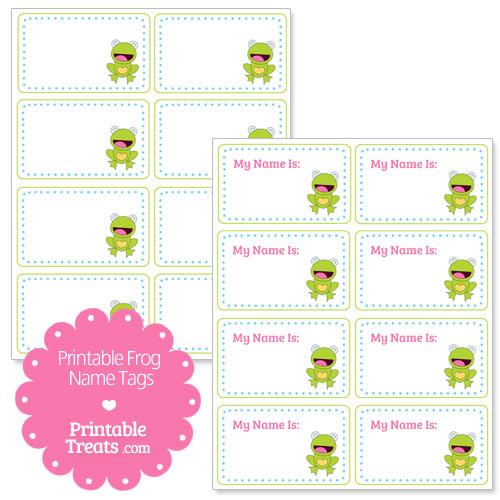 printable frog name tags
