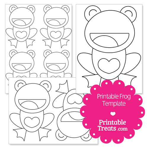 printable frog with heart belly template