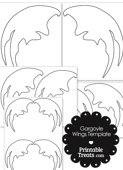 Printable Gargoyle Wing Shape Template from PrintableTreats.com