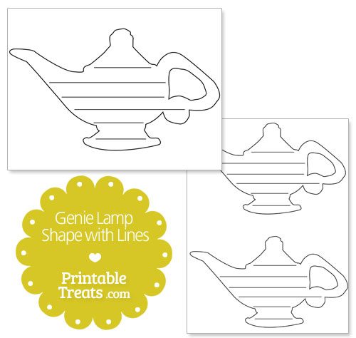 printable genie lamp shape with lines