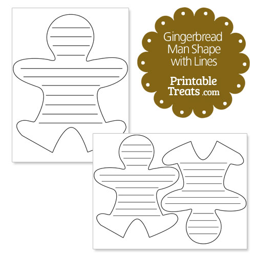 printable gingerbread man outline with lines