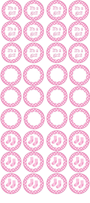free printable girl baby shower cupcake toppers