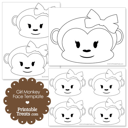 printable girl monkey face template