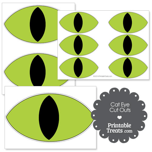 printable green cat eye cut outs