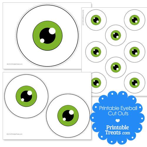 printable green eyeball cut outs