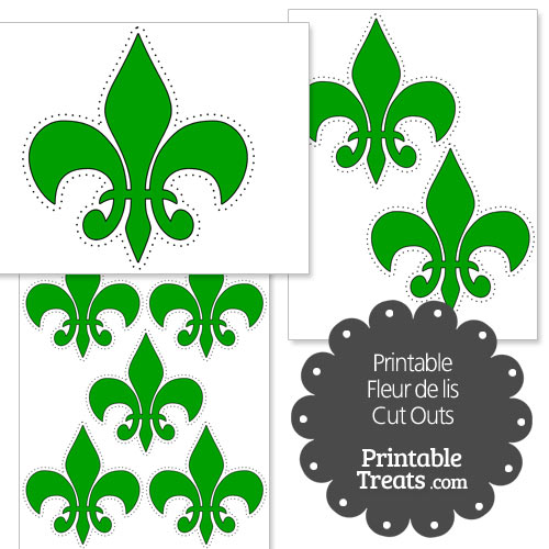printable green fleur-de-lis cut outs