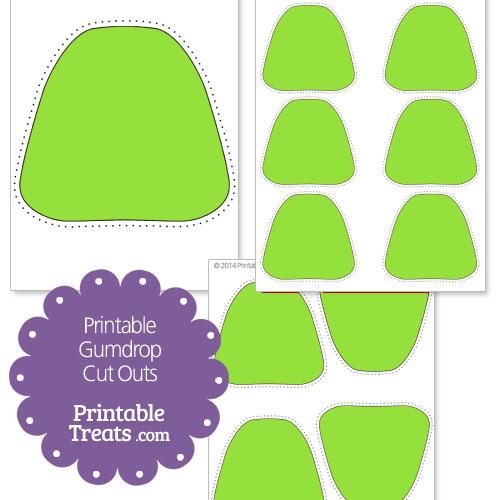 printable green gumdrop cut outs