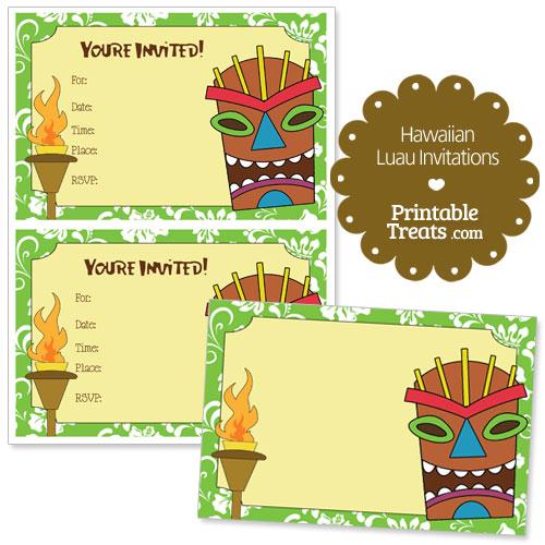 printable green Hawaiian luau invitations