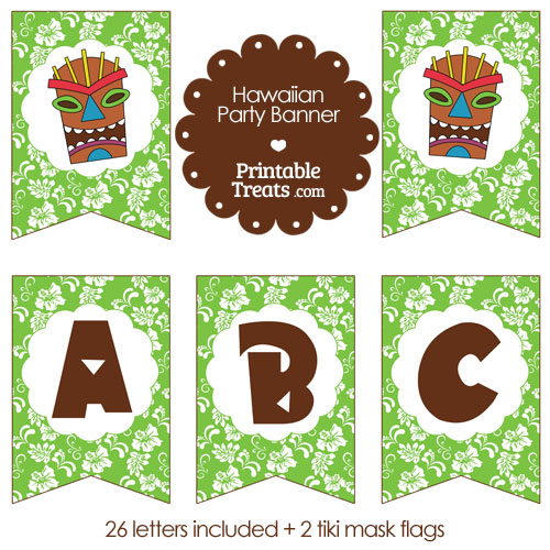 printable green Hawaiian party banner