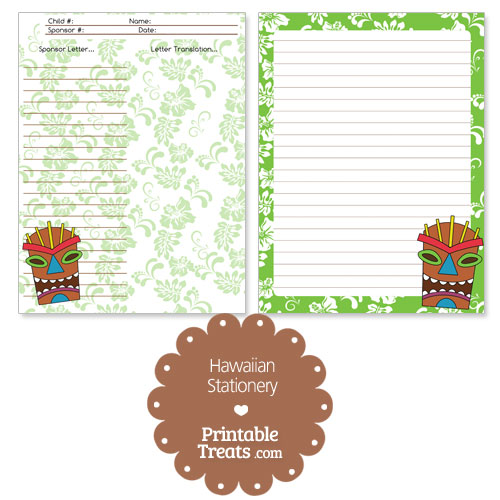 printable green Hawaiian stationery