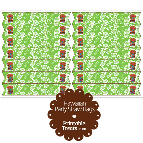printable green hawaiian straw flags