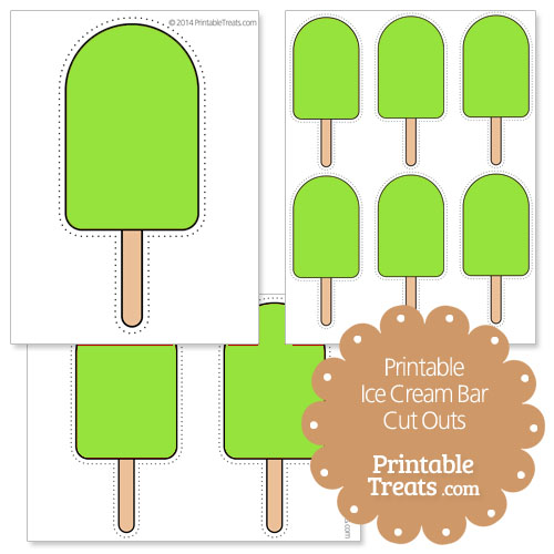 printable green ice cream bar cut outs