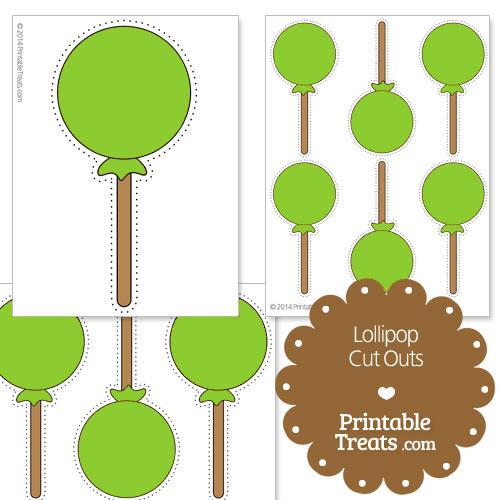 printable green lollipop cut outs