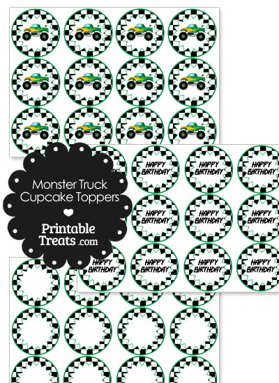 Printable Green Monster Truck Cupcake Toppers from PrintableTreats.com