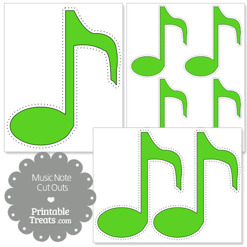 printable green music note cut outs