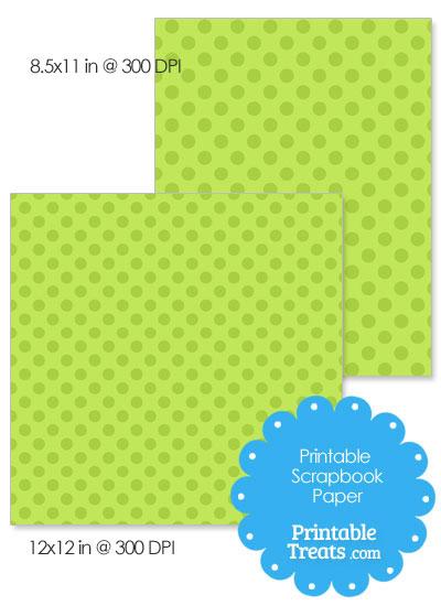 Printable Green Polka Dot Paper from PrintableTreats.com