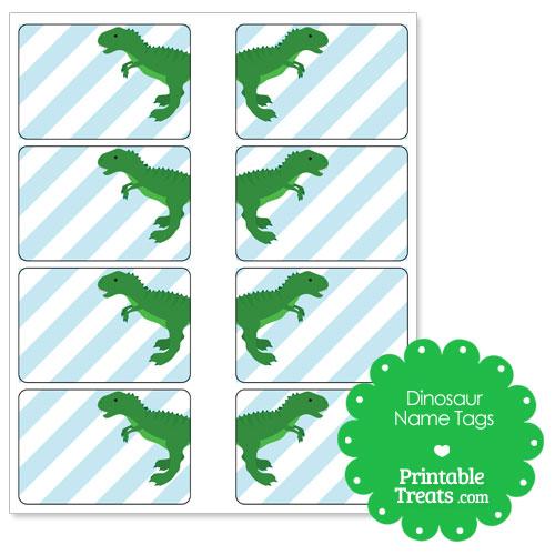 printable green T Rex name tags