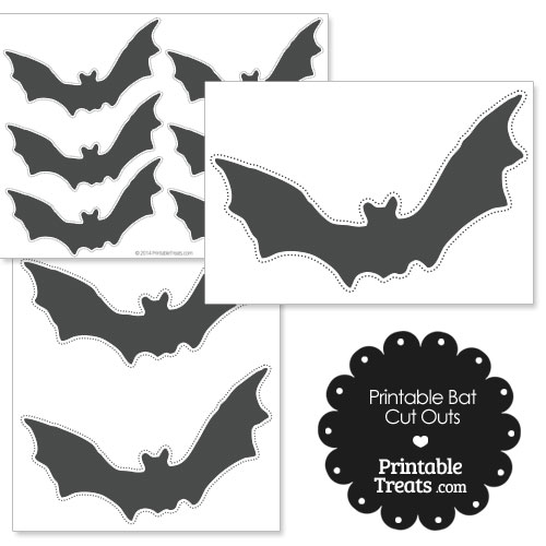 printable grey bat cut outs
