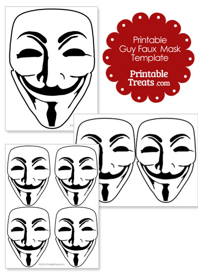 Printable Guy Faux Mask Template from PrintableTreats.com