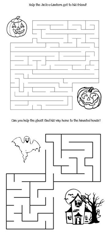 printable halloween mazes