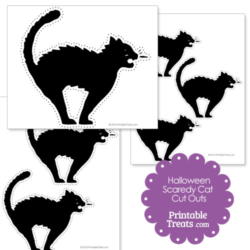 printable Halloween scaredy cat cut out