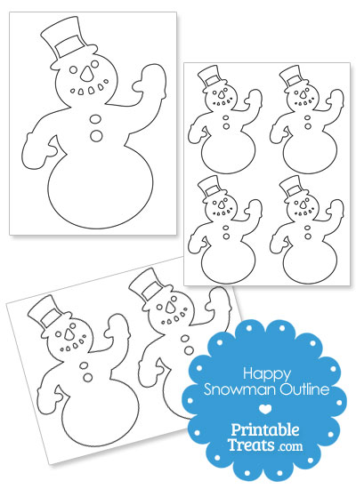 Printable Happy Snowman Outline from PrintableTreats.com