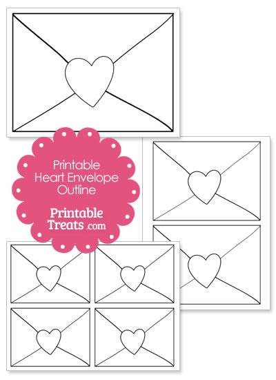 Printable Heart Envelope Outline from PrintableTreats.com