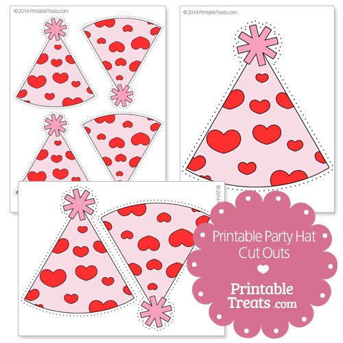 printable hearts party hat cut outs