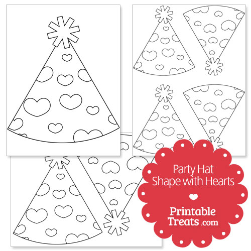 printable hearts party hat shape