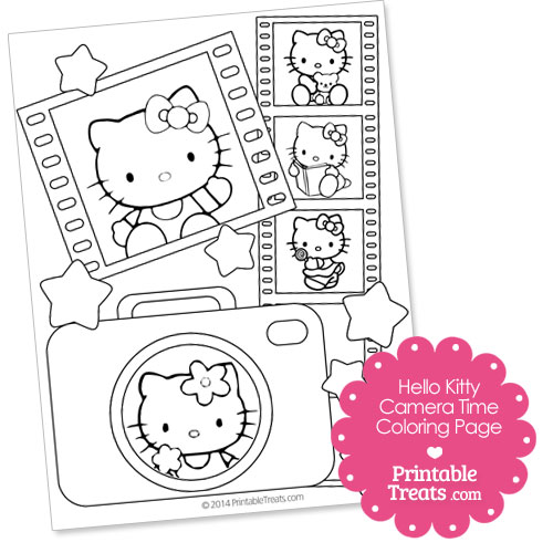 printable Hello Kitty camera time coloring page