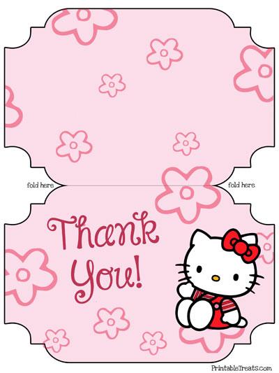 printable hello kitty thank you cards