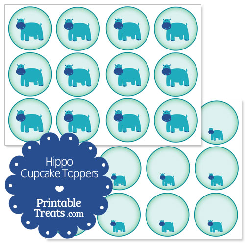printable hippo cupcake toppers