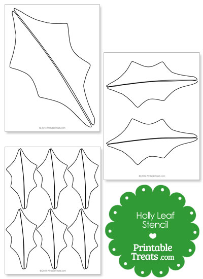 Printable Holly Leaf Stencil from PrintableTreats.com