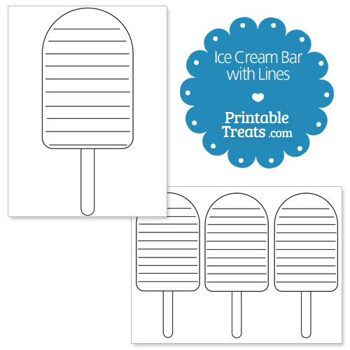 printable ice cream bar shape with lines