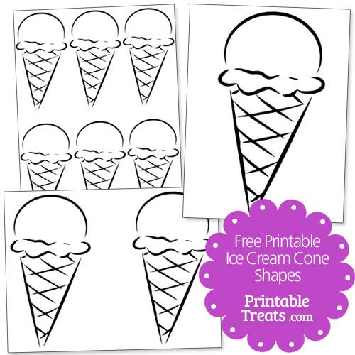 free printable ice cream cone shapes