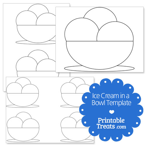 printable ice cream in a bowl shape template