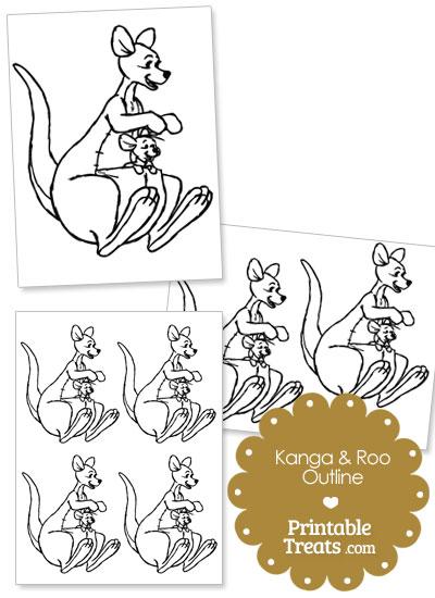 Printable Kanga and Roo Outline from PrintableTreats.com