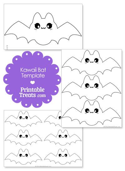 Printable Kawaii Bat Templates from PrintableTreats.com