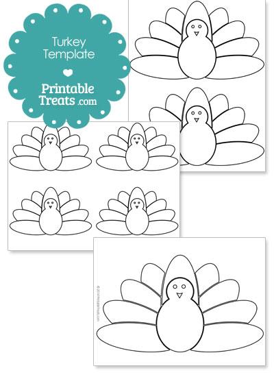 Printable Kids Turkey Shape Template from PrintableTreats.com