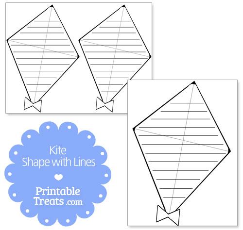 printable kite shape with lines