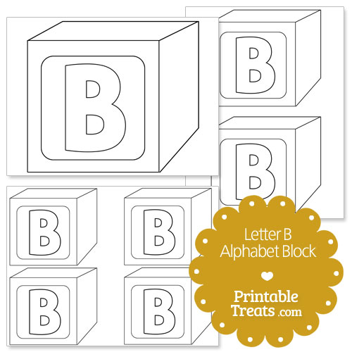 printable letter b alphabet block template