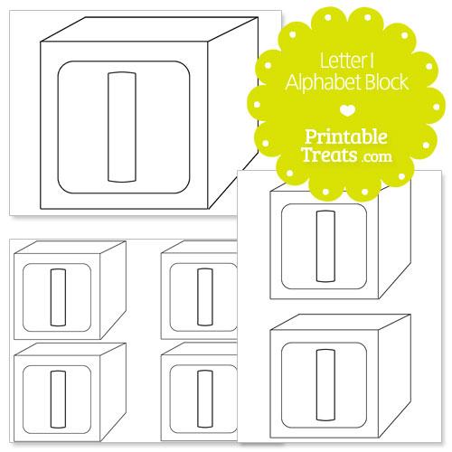printable letter i alphabet block template