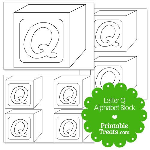 printable letter q alphabet block template